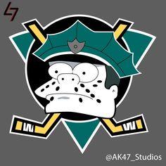 NHL Hockey Team Logos Get The Simpsons Treatment - Geekologie Simpsons Cartoon, Simpsons Characters, Cartoon Art, Chief Wiggum, Nhl Hockey Teams, Ice Hockey, Olympic Games Sports, Nhl Logos, Anaheim Ducks