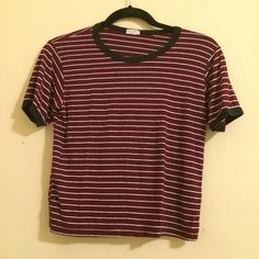 Brandy Melville maroon striped tee Cute ringer tee Brandy Melville Tops