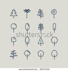 Set of line icons. Trees: palm tree, fir-tree, oak, pine. Vector illustration