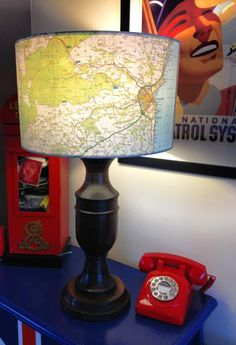 Hand made lamp shade, made out of a Stonehaven OS map