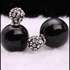 Black Rhinestone Double Stud Plug Earrings Black Rhinestone Double Stud Plug Earrings Jewelry Earrings