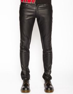 Black Skinny Pleather Guys Pants by Tripp NYC in Black (Guys Pants). Fit for rock n' roll royalty, these slim cut vegan leather pants, with skull rivets and a skinny fit, will have you looking stage ready. - PU - Model is wearing size 30 - Wipe down wit Black Leather Jeans, Mens Leather Pants, Black Skinnies, Black Pants, Men's Leather, Vegan Leather, Leather Braces, Leather Design, Cowhide Leather