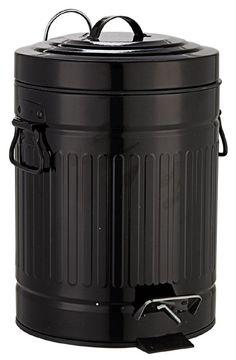 Witziger Abfalleimer für das Bad aus pulverbeschichteten Metall in schwarz in Form einer Mülltonne. Der Deckel verfügt über eine praktische Absenkautomatik. Gesehen für € 29,95 bei kloundco.de.