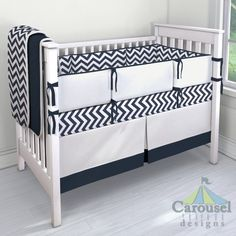 Design Contest: Crib bedding in White and Navy Zig Zag, Solid Antique White, Solid Navy. Created using the Nursery Designer® by Carousel Designs where you mix and match from hundreds of fabrics to create your own unique baby bedding. #carouseldesigns