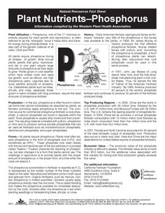 Plant Nutrients: Phosphorus- Facts about production, value, history and nutrition. Includes lesson plan ideas.