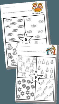 Fiches numération maternelle – Quantités jusqu'à 9 – Thèmes : Galette des rois et Hiver   la maîtresse a des yeux dans le dos