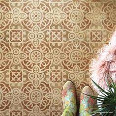 Large Floral Damask Wall Stencils - DIY Wallpaper Look – Royal Design Studio Stencils Damask Wall Stencils, Moroccan Wall Stencils, Stencil Painting On Walls, Large Stencils, Stencil Patterns, Stencil Designs, Tile Patterns, Tile Stencils, Tile Painting