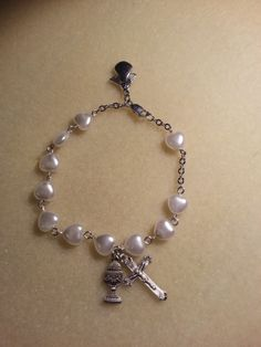 "Sterling silver First Communion Rosary bracelet with heart beads and ""made for an angel"" charm--SOLD!!"