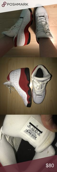 Jordan Cherry 13 retros ❗️I DON'T TRADE❗️Good condition. Only flaw would be some small yellow stains on the inside of the tongues that resulted from the shoes sitting in the closet amongst other shoes. Pretty sure it could be removed. Size 6Y (I'm an 8 in women's & these fit) THESE ARE CLASSICS SO IF YOU MAKE AN OFFER DON'T LOWBALL! Jordan Shoes Sneakers