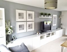 Minimalist living room Ikea with wall units Exceptional Ikea wall units . - Minimalist living room Ikea with wall units Exceptional Ikea wall units …, # ordi - Living Room Tv Unit, Living Room Grey, Home Living Room, Living Room Designs, Ikea Living Room Storage, Long Living Rooms, Tv Wall Ideas Living Room, Tv On The Wall Ideas, White Living Room Furniture