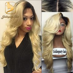 Ombre Wavy Glueless Lace Front Wigs With Side Bangs #1bT613 Blonde Brazilian Virgin Full Lace Human Hair Wigs For Black Women