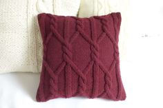 Merlot chunky knit pillow cover, Marsala cable knit pillow case, hand knit pillow cover, decorative couch pillow, 16x16 home decor
