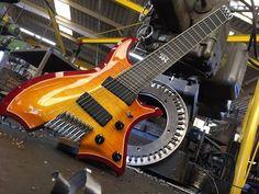 8 string fan fretted headless guitar by Gene Baker