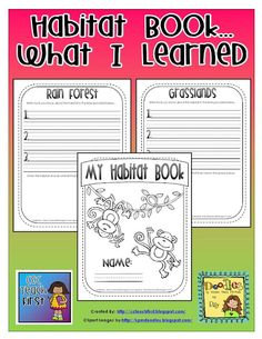 This is a fun activity to put everything together. Students always have pride in a assignment that they worked hard on especially in book form. This habitat book will sum up the lesson on habitats in an easy to read and easy to assemble book.