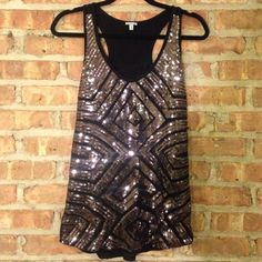 Black and Charcoal Sequin Shirt Sparkly sequin tank top! Charlotte Russe Tops Tank Tops