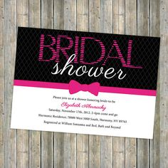 Bridal Shower invitation Pink and Black by freshlysqueezedcards, $13.00