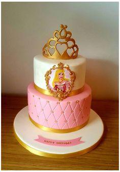 Princess Aurora Party, Princess Theme Cake, Disney Princess Birthday Party, Aurora Cake, Sleeping Beauty Cake, Bolo Barbie, Pig Birthday Cakes, 4th Birthday, Prince Cake