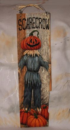 """Scarecrow, pumpkin head scarecrow hand painted on barnwood, 6"""" x 20"""" by SuzysSantas on Etsy https://www.etsy.com/listing/205802769/scarecrow-pumpkin-head-scarecrow-hand"""