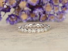 14k White Gold Engagement Ring,Milgrain Full Eternity Diamond Band,Natural SI I-J Diamonds Wedding Band,Anniversary Stacking Ring,Reco Ring Set - Wedding and engagement rings (*Amazon Partner-Link)
