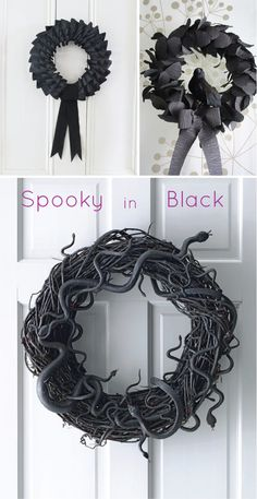 Design Plus You: Halloween Wreaths (I want to make the snake one! I love the little red tongues.) Design Plus You: Halloween Wreaths (I want to make the snake one! I love the little red tongues. Halloween Tags, Theme Halloween, Creepy Halloween Decorations, Holidays Halloween, Halloween Crafts, Holiday Crafts, Holiday Fun, Happy Halloween, Halloween Wreaths