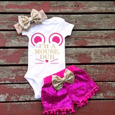 I'm A Mouse Duh Baby Girl Bodysuit Baby Baby by GLITTERandGLAMshop