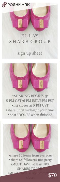 💘W E D N E S D A Y💘10/19 Share Group Sign Up PLEASE READ:   •PLEASE DON'T SHARE UNTIL 5 PM CST •I'll post CLOSED when sign up is closed •LIKE❤️this listing so you can easily find it •DON'T JOIN if you can't share within the timeframe •write NEW next to your name if new to this group •MUST HAVE 1000 shares to join •share to 'followers' not 'party' •in case of emergency & can't share,contact me on the Q&A list •NO COMMENTS on this list-use the 'bookmark my closet' list for Q&A kate spade…