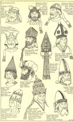 The Mode in Hats and Headdress: A Historical Survey | 198 plates by R. Turner Wilcox:  Ecclesiastic -- medieval thru renaissance