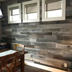 Dining Room DIY Remodel Featuring our Weekend Walls Silver/Gray. This project too approx 100 sf, at $11.95 per square foot.   What DIY projects are you working on this week??  #peelandstick #shiplap #peelandstickwood #peelandstickwalls #peelandstickwoodwalls #weekendwalls #diy #diyhomebar #diybar #diywall #rusticwall #farmhousestyle #rusticstyle