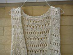 Hippie Crochet Vest Fringe Beach Cover Up Music by TinaCrochet2016