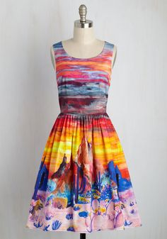 Painted Love Dress by ModCloth - Multi, Orange, Novelty Print, Print, Casual, Sundress, Fit & Flare, Sleeveless, Summer, Woven, Exceptional, Exclusives, Private Label, SF Fit Shop, Travel, Spring