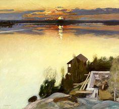Pekka Halonen Auringonlasku Tuusulanjärvellä [Sunset at Lake Tuusula], 1902
