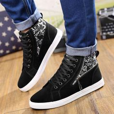 Men Suede PU Leather Casual Shoes Spring Autumn 2017 Hot Sale Men Shoes Zapatos Hombre Man Fashion Lace-Up Zipper Printing Boots High Heel Boots, Heeled Boots, Shoe Boots, High Heels, Shoes Heels, Pretty Shoes, Cute Shoes, Me Too Shoes, Sneakers Fashion