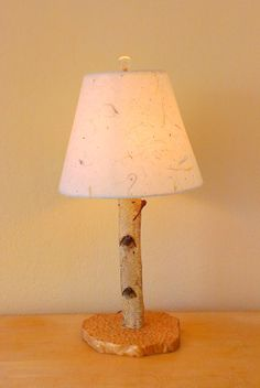 Small Birch Wood Table Lamp by OrganicLamps on Etsy, $65.00