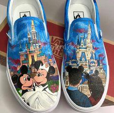 74860905b4 Handpainted Disney inspired bridal   wedding party Converse Vans shoes  sneakers