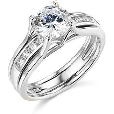 14k Yellow OR White Gold SOLID Engagement Ring & Wedding Band Set