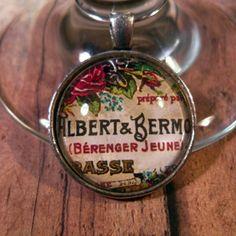 French Ephemera Wine Glass Charms - Set of 4