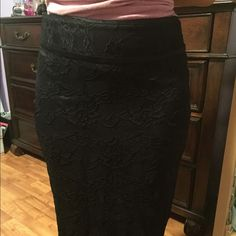 Bebe lace pencil skirt Size 4. Ruched in the back! Worn on the hips. Like new, worn only a few times bebe Skirts Pencil