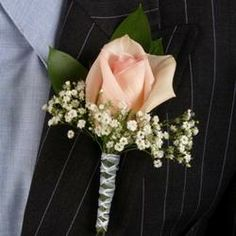baby breath boutonniere sprigs with tiny rosebud - Google Search