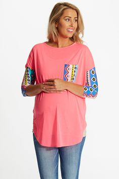 Neon-Pink-Tribal-Accent-Maternity-Top #pinktop #tribalaccent #cutematernityclothes