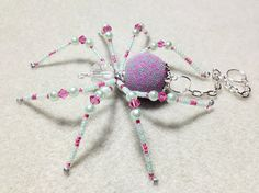 Candy - pink and pale green glass beaded spider goth sun catcher - Halloween - Christmas ornament