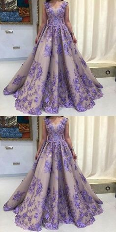A-Line Scoop Sleeveless Lavender Tulle Prom Dress with Appliques, vintage lavender long prom dresses with appliques, elegant ball gown evening dresses with pleats Elegant Ball Gowns, Ball Gowns Evening, Ball Gowns Prom, A Line Prom Dresses, Tulle Prom Dress, Formal Evening Dresses, Ball Dresses, Women's Dresses, Dress Formal