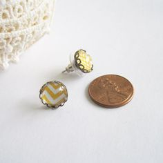 Tiny Mismatched Yellow Post Earrings by byElena on Etsy