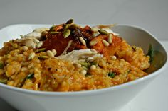 low fodmap chicken and roast pumpkin risotto (cooked three ways: pressure cooker, stove top or oven-baked!)