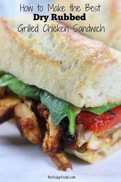 My husband's favorite sandwich EVER! Easy and out of this world delicious this Dry Rubbed Grilled Chicken Sandwich recipe creates one of the best sandwiches. This sandwich really is the perfect addition for your game day menu. Grilled Chicken Sandwiches, Chicken Sandwich Recipes, Chicken Parmesan Recipes, Best Chicken Recipes, Grilled Chicken Recipes, Chicken Flavors, Real Food Recipes, Crockpot Recipes, Cooking Recipes