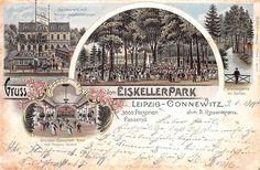 AK Litho. Gruss vom Eiskellerpark Leipzig-Connewitz Inh. A.Rosenkranz gel. 1900