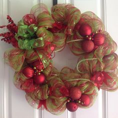Poly Deco Mesh Wreath Christmas Wreath Red Green  by RyRyDesigns, $60.00
