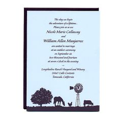 Farm Wedding Invitations - Wine Country Occasions, www.winecountryoccasions.com