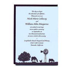 Farm Wedding Invitations - Wine Country Occasions, www.winecountryoccasions.com