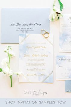 Blue Watercolor Wedding Invitations with Gold Foil for a boho beach wedding