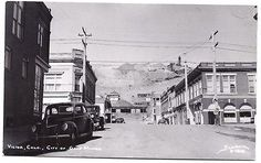 1940s-VICTOR-Colorado-RPPC-main-business-street-Teller-County-Real-Photo